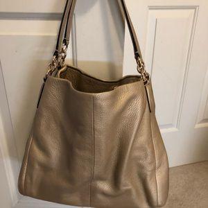 Gold Lexy Coach purse